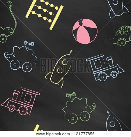 Seamless pattern black chalk board with color children's chalk drawings. Hand-drawn style. Seamless