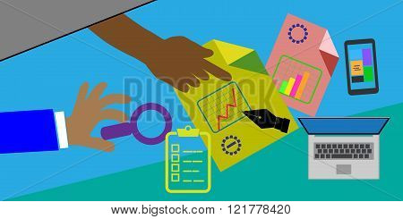 concept of review meetings this also represents business project review flat icon