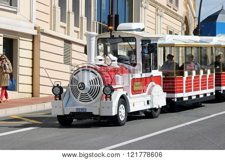 Red Trackless Train In Monte-carlo, Monaco
