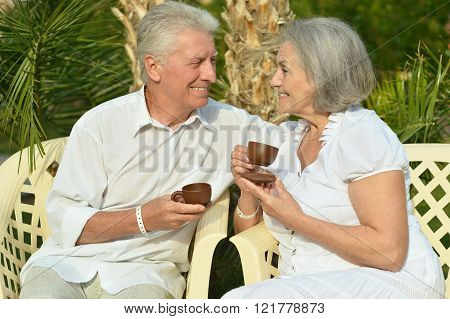 Senior couple resting at the resort