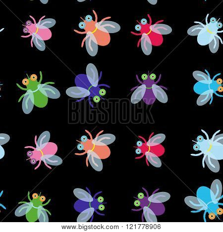 Seamless pattern Funny fly colorful red green blue violet pink with transparent wings on black backg