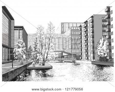 Vector illustration of street in Copenhagen