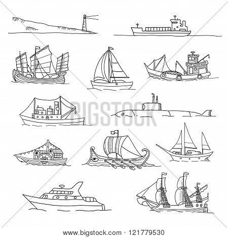 Set with boats of different ages. Doodles