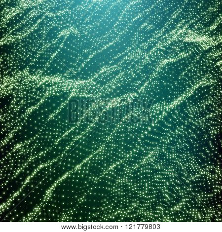 Wave Grid Background. Ripple Grid. Lattice Background. Abstract Vector Illustration. Cyberspace Grid. 3D Technology Style. Glowing Grid. Wireframe illustration with Dots. Network Design with Particle
