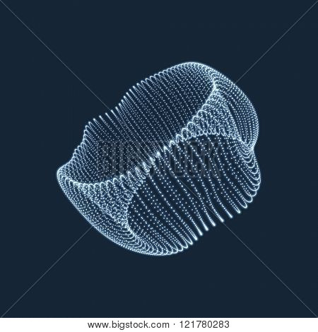 Wireframe Object with Dots. Abstract 3D Connection Structure. Geometric Shape for Design. Lattice Geometric Element, Emblem and Icon. Glowing Grid. Molecular grid. 3D Technology Style with Particle
