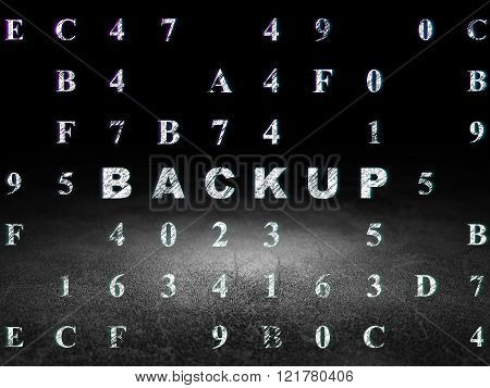 Database concept: Backup in grunge dark room