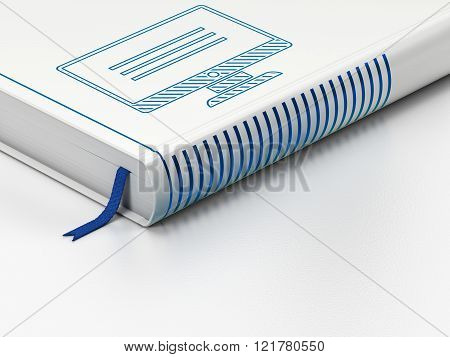 Software concept: closed book, Monitor on white background