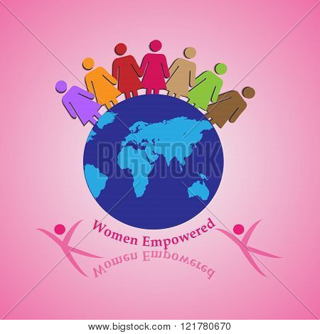 Vector Illustration of Women Holding Together Concept of Teamwork Unity Strength Leadership and Courage
