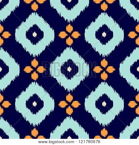 Ikat geometric seamless pattern. Orange and blue collection.