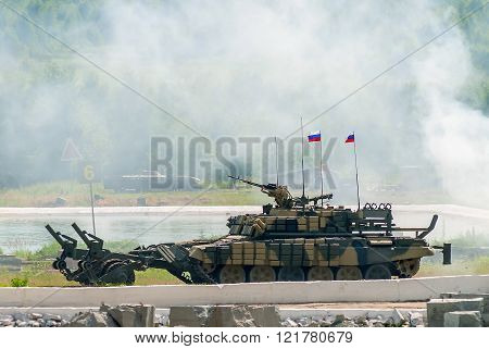 Armored deminer BMR-3M in action. Russia