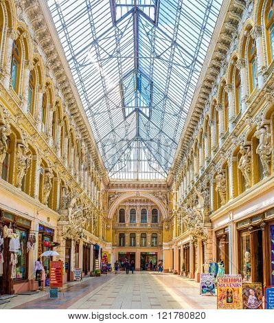 ODESSA UKRAINE - MAY 18 2015: Passage is the historical building and the first luxury shopping mall in the city on May 18 in Odessa.