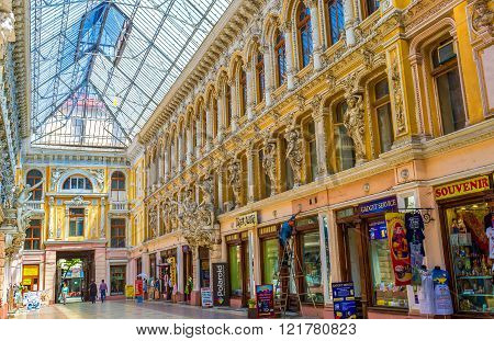 ODESSA UKRAINE - MAY 18 2015: Passage of Odessa in the most beautiful shopping mall in the city on May 18 in Odessa.