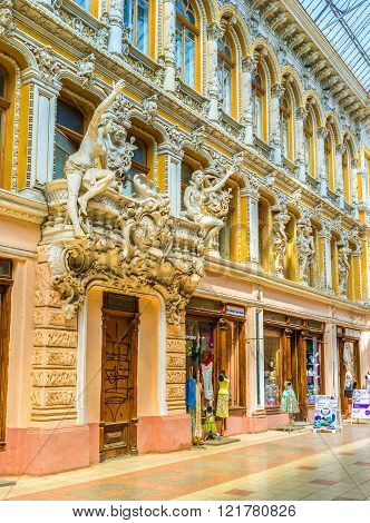 ODESSA UKRAINE - MAY 18 2015: Due to the rich decoration of Passage here come not only buyers but also lovers of the arts on May 18 in Odessa.