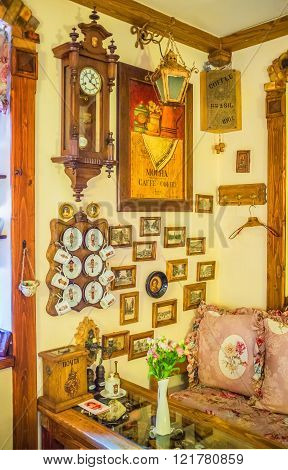 ODESSA UKRAINE - MAY 18 2015: The beautiful interior in retro style in one of the local cafe on May 18 in Odessa.