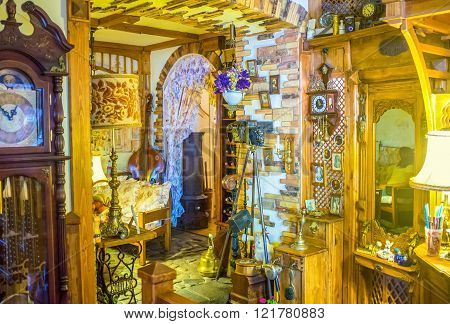 ODESSA UKRAINE - MAY 18 2015: The interior of some cafes in Odessa look more like museum of antiques that cafe on May 18 in Odessa.