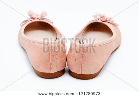Girl Pink Shoes Isolated On A White
