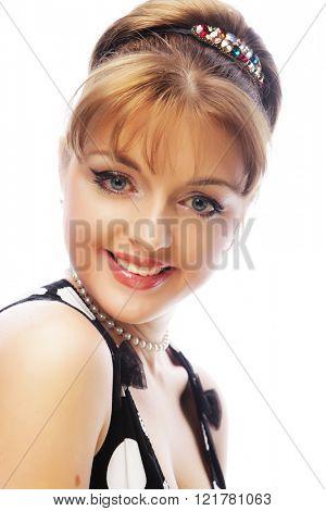 Pinup woman, style retro haircut, studio shot