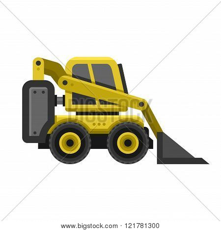 Bobcat Machine Icon. Flat Style Design. Vector