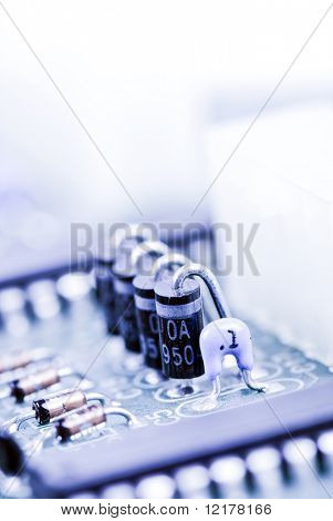 semiconductor components on a blue background