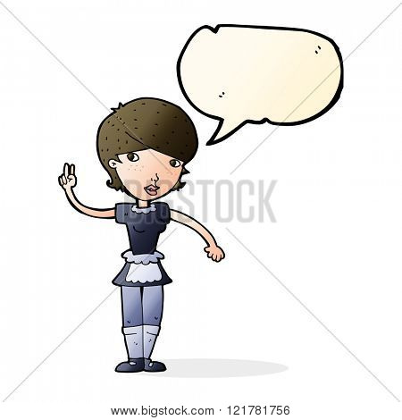 cartoon waitress taking order with speech bubble