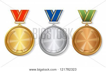 Set of gold, silver and bronze Award medals on white