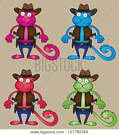 cartoon cowboy cat with colts wearing hat illustration