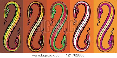 cartoon colored snake bodies silhouettes connected together