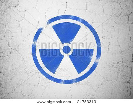 Science concept: Radiation on wall background