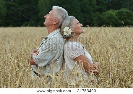 happy senior couple in summer