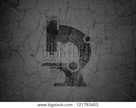 Science concept: Microscope on grunge wall background