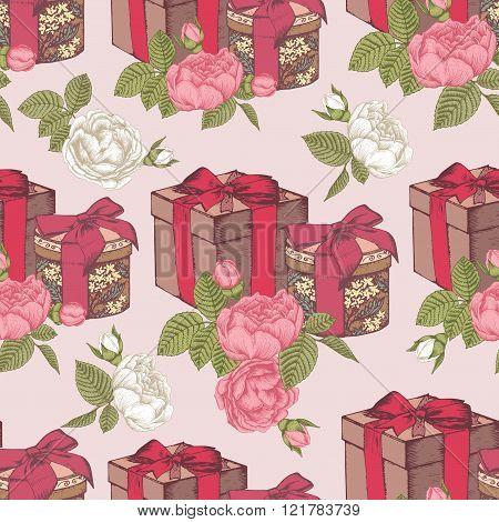 Seamless pattern with hand drawn gift boxes and bouquets of roses