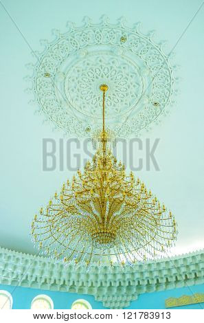 ODESSA UKRAINE - MAY 18 2015: The beautiful chandelier was made in the same style as the interior of the Al Salam Mosque on May 18 in Odessa.
