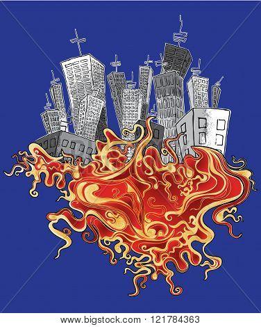 panel city organic fire element background illustration