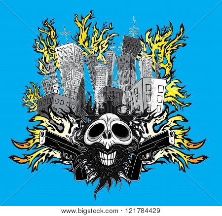 smiling skull with guns and city buildings in fire vector illustration