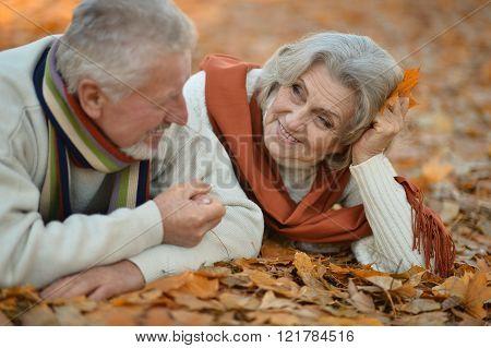 Senior couple in autumn park