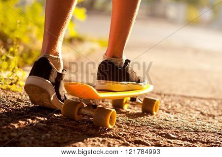 Boy skateboarding outdoors