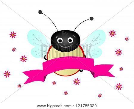 Ladybug With Pink Ribbon