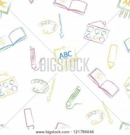 Seamless pattern with color children's chalk drawings on white background. Hand-drawn style. Seamles