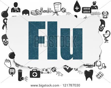 Medicine concept: Flu on Torn Paper background