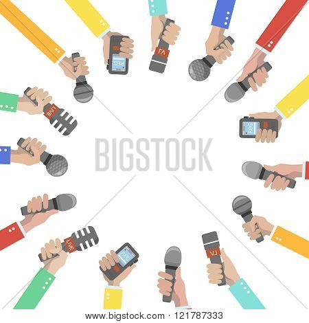 Set of hands holding microphones and voice recorders.