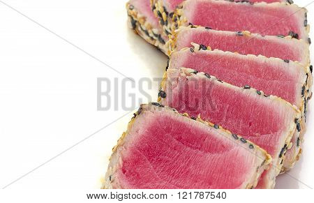 Tuna Filet With Sesame Isolated On White Background