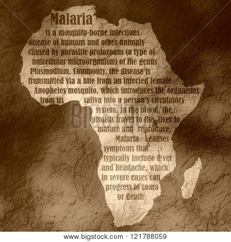 African Continent Map With Malaria Description Text