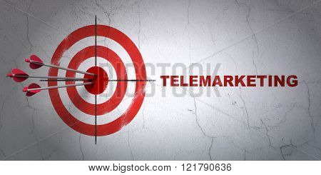 Marketing concept: target and Telemarketing on wall background