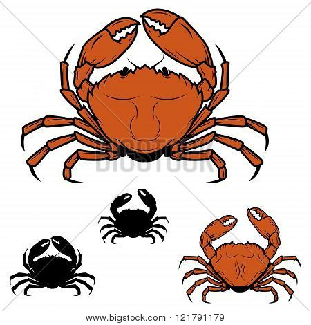 Set Of The Crabs Icons In Vector