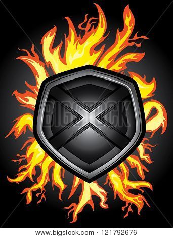 metal steel shield fire flames background illustration
