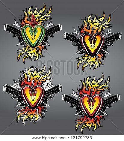 punk heart shape tattoo fire flames glock pistols illustration