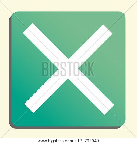 Cancel Icon, On Button Style Green Background, Yellow Light, Shadow
