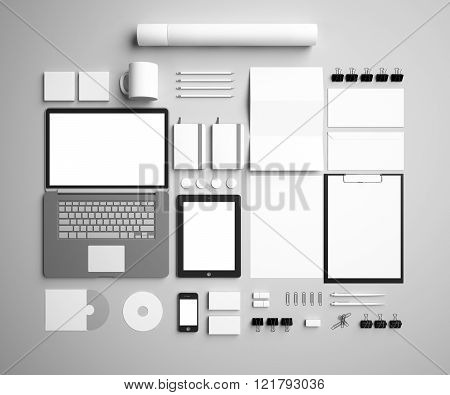 corporate identity Mock Up on a gray background. Set includes package, a tube, a pencil, a tablet, a