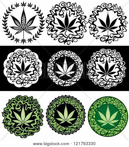 marijuana cannabis leaf symbol decorative background element