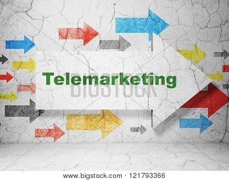 Marketing concept: arrow with Telemarketing on grunge wall background